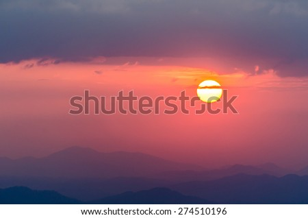 The beautiful Sunset at Phu Soi Dao national park where located in deep jungle at Phitsanulok Province,Thailand #274510196