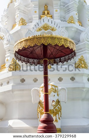 The beautiful Thai fine art on umbrella at Buddhist temple in Thailand #379229968