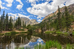 The beautiful the Louch lake with reflection and clear water, Rocky Mountain National Park, Colorado