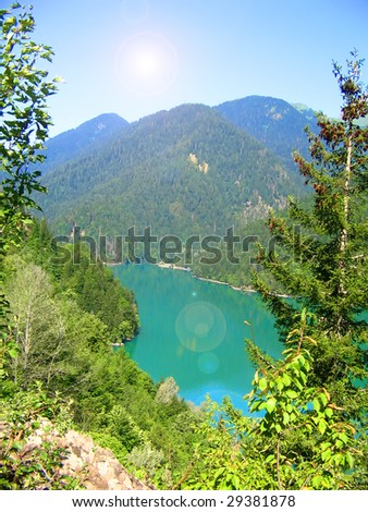 The beautiful top view on mountain lake.