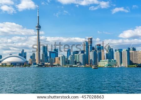 The beautiful Toronto\'s skyline over Lake Ontario. Urban architecture. Ontario, Canada.