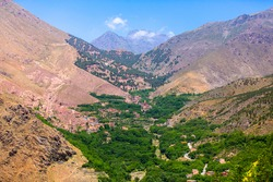 The beautiful valley of Imlil between the atlas mountains in Morocco