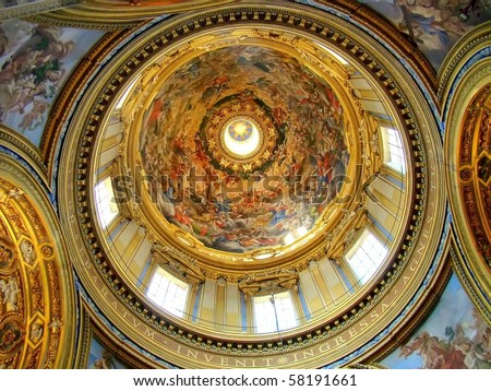 The beautiful vault of Sant'Agnese in Agone, a basilica church in Piazza Navona, Rome, Italy