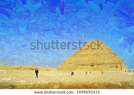 The beautiful view of the Pyramid of Djoser (Step Pyramid) at the necropolis of Saqqara, near Cairo city. Its one of the must-visit spot in Egypt. Abstract  oil painting.