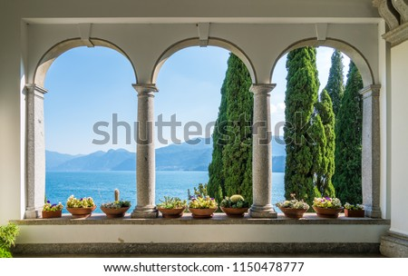 The beautiful Villa Monastero in Varenna on a sunny summer day. Lake Como, Lombardy, Italy. Foto stock ©