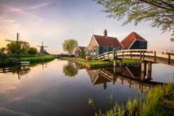 The beautiful village of Zaanse Schaans at sunset, the Netherlands