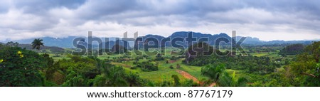 The beautiful Vinales Valley in Cuba. The Vinales Valley has been on UNESCO's World Heritage List since November 1999 as a cultural landscape enriched by traditional farm and village architecture.