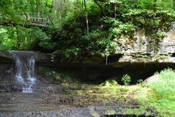 The beautiful waterfall in Glen Helen Nature Preserve in Ohio.
