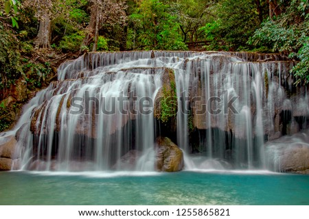 The beautiful waterfall in the forest of Thailand , tourist attraction/tourist spot/tourism location/natural tourist attraction in Thailand. #1255865821