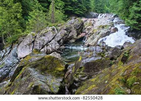 The beautiful Weeks Falls on the Snoqualmie River in the Mt. Baker/Snoqualmie National Forest, near North Bend, Washington.