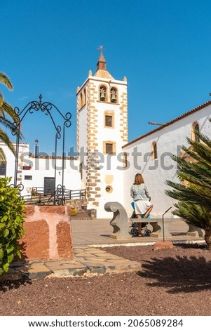 The beautiful white church of Betancuria, former capital, west coast of the island of Fuerteventura, Canary Islands. Spain