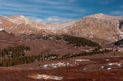 The beautiful, wild and remote open spaces of Guanella Pass high in the Colorado Rocky Mountains on an early winter day.