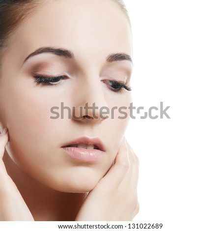 The beautiful woman. A photo of the beautiful woman with a natural make-up. Care of a skin. Spa