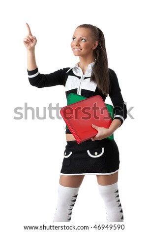 The beautiful woman stand with coloured folders on a white background.