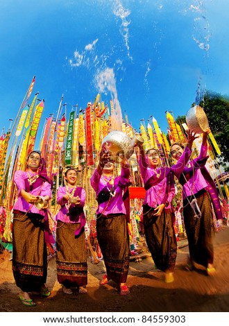 The beautiful woman thai people celebrate Songkran festival (water festival) in Chiangmai, Thailand on April 13, 2010.
