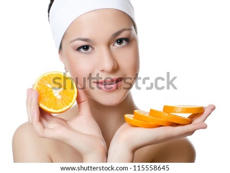 The beautiful woman with a orange isolated
