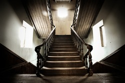 The beautiful wood Stairway in old house