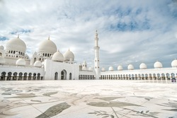 The beautiful world's largest mosque called Sheikh Zayed Grand Mosque located in Abu Dhabi, the capital city of the United Arab Emirates,close to Dubai, inside lateral shot during vacation/holiday