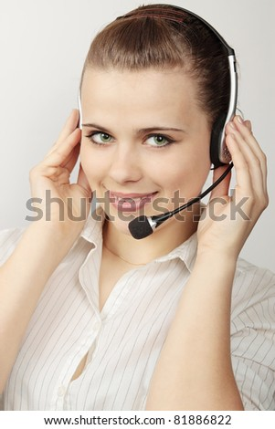 the beautiful young of woman with headset - stock photo