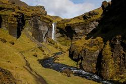 The beautifull hidden Kvernufoss waterfall near Skóga, Iceland