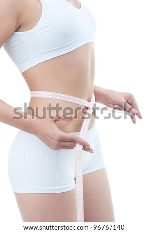 The beauty and freshness of a young woman's body isolated on clear white background
