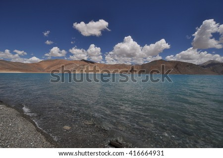 The beauty and majesty of Pangong Tso, a high altitude lake in Ladakh, India. #416664931