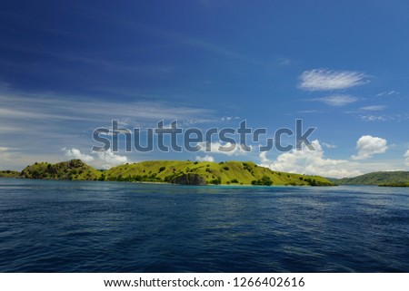 The beauty isolate island in the clear sky, combination green meadow of island and the blue sky and the blue deep sea make the perfect landscape scenery in this archipelago #1266402616