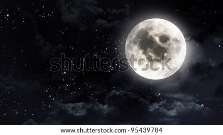 the beauty moon in the night sky