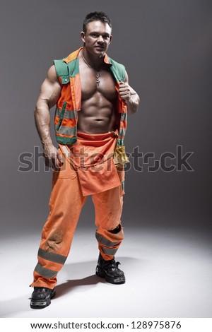 the beauty muscular worker man