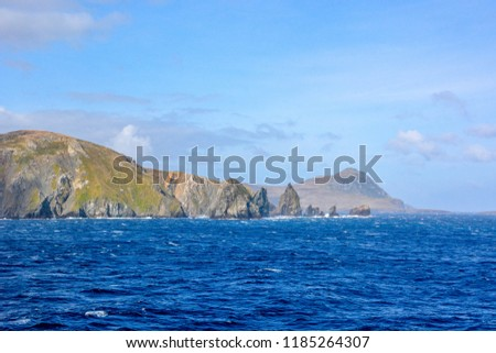 The beauty of Chile Scenic cruising around Cape Horn, southernmost tip of South America. Panoramic view of Cape Horn, Tierra del Fuego Archipelago, Patagonia, Chile, South America. #1185264307