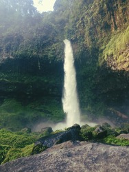 The beauty of ciparay waterfall with a beautiful village feel at the foot of mount galunggung, located in Tasikmalaya, Jawabarat