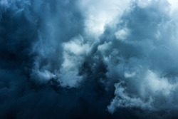 The beauty of cloud shapes on rainy days. Blue atmosphere. Amazing forms by nature.
