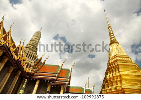 The beauty of Thai architecture in Wat Phra Kaew, Temple of the Emerald Buddha, Bangkok, Thailand.
