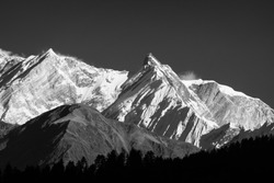 The beauty of the Himalayan Mountains in Black and White.