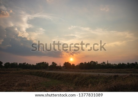 The beauty of the sunset scenery #1377831089