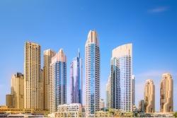 The beauty panorama of skyscrapers in Dubai Marina. UAE