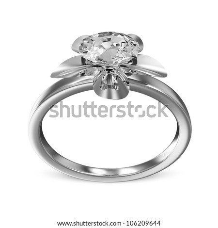 The Beauty Platinum Wedding Ring with Diamond on white background