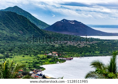The beauty tropical landscape of Oceania, top view to Rabaul and harbour  near Tavurvur volcano. New Britain Island, Papua New Guinea