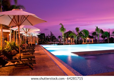 the  bed beside the pool facing to the sea for the romantic time, in Phu Quoc - vietnam