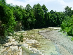 The bed of the mountain river became shallow after the flow of melt water. Floodplain deciduous forest.