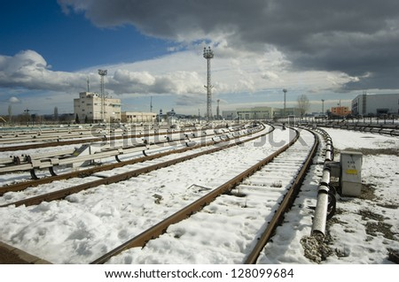 The beginning of railway tracks in Sofia, Bulgaria - Metro