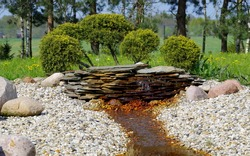 The beginning of the brook on the rock garden.