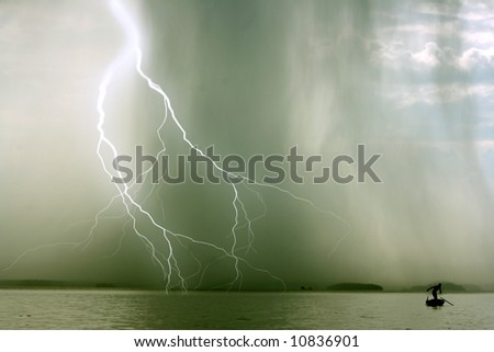 the beginning of the storm over the lake