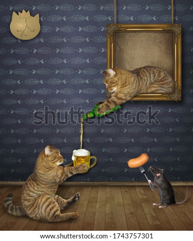 The beige cat is leaning out of the picture and pouring beer for his friend at an art gallery. A black rat feeds him a sausage on a fork.