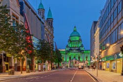 The Belfast City Hall at Donegall Square in Belfast, Northern Ireland at Night