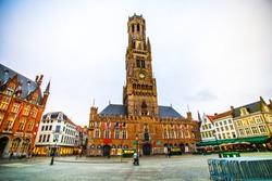 The Belfry of Bruges (Belfort van Brugge) on the Markt of Bruges (Market Square) in the centre of the city, Belgium