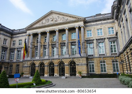 The Belgian parliament building in Brussels, Belgium