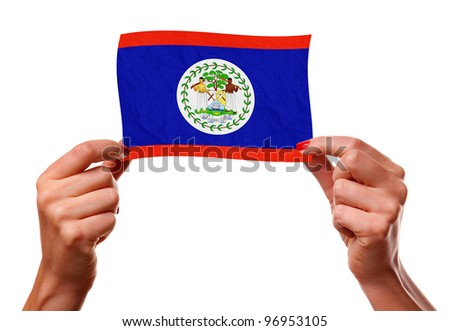 The Belize flag in the woman hands. closeup