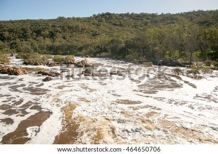 The Bell Rapids where the Avon and Swan River meet in Brigadoon in the Swan Valley region in Western Australia/Bell Rapids: Foamy White Water/Brigadoon, Swan Valley Region, Western Australia
