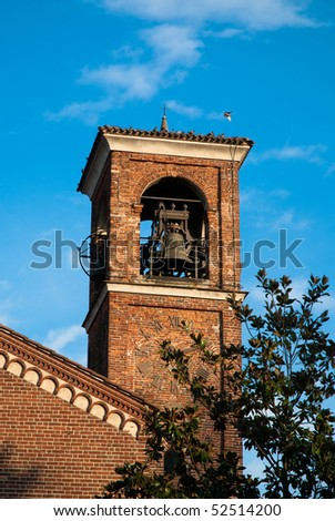The Bell Tower of Abbey of Santa Maria di Rovegnano, Chiaravalle Milanese, Italy. Founded on 1135, it is one of the first examples of Gothic architecture in Italy.